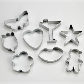 Set of 8 Valentines Cookie Cutters - Heart Lips Flowers Butterfly Star Bear Cocktail