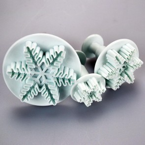 Set of 3 Snowflake Plunger Cutters (Radiating Dendrites)