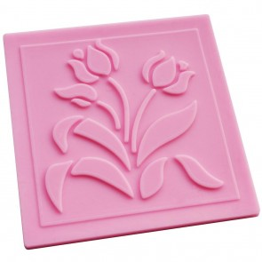 Flower Lace Pattern Texture Embossing Silicone Square Mat Cake Fondant Print (A)