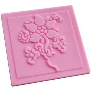 Flower Lace Pattern Texture Embossing Silicone Square Mat Cake Fondant Print (B)