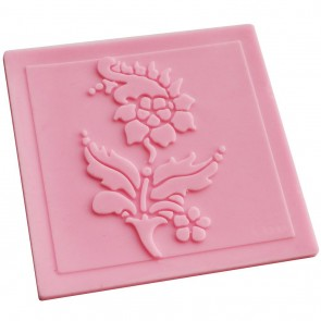 Flower Lace Pattern Texture Embossing Silicone Square Mat Cake Fondant Print (D)