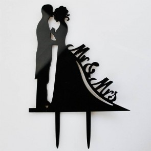 Mr & Mrs Bride & Groom Black Acrylic Wedding Day Cake Topper Silhouette